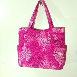 Vera Bradley Bright Pink Quilted Diaper Bag